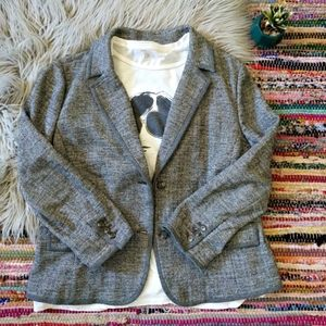 LOFT Herringbone Casual Blazer Jacket XL Gray